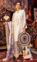 -Pani embroidered khaddar front -Embroidered khaddar back -Pani embroidered khaddar sleeves -Pani and chikan embroidered border on khaddar for front and back -Pani embroidered finishing lace -Chikan embroidered finishing lace -Handmade silk buttons -Khaddar dyed trouser -Khaddar digital printed shawl