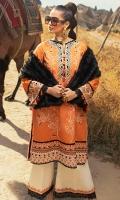 -Embroidered khaddar front -Embroidered khaddar back -Embroidered khaddar sleeves -Embroidered border on khaddar for front and back -Embroidered finishing lace on silk -Embroidered finishing lace for sleeves -Finishing croshette lace -Silk handmade buttons (orange and black) -Khaddar dyed trouser -Khaddar digital printed shawl