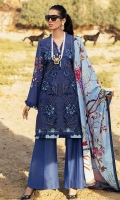 -Chikan and pani embroidered karandi front -Digital printed karandi back -Digital printed karandi sleeves -Embroidered lace for front hemline -Finishing croshette lace -Karandi dyed trouser -Karandi digital printed shawl
