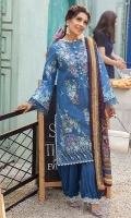 -Chikan embroidered front -Embroidered back -Chikan embroidered sleeves -Chikan embroidered border for front and back -Embroidered lace for trousers -Embroidered buttons -Finishing lace for hemline and neckline -Finishing lace for sleeves -Dyed cotton trouser -Digital silk pure chiffon dupatta