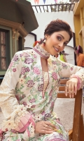-Cross stitch embroidered front -Cross stitch and chikan embroidered back -Chikan embroidered sleeves -Cross stitch embroidered motifs for sleeves -Border for sleeves -Pani embroidered border for neckline and front hemline -Pani embroidered finishing lace for side slits and trouser -3D flowers -Pink pearls for finishing -Schiffli patch for neckline -Dyed cotton trouser -Digital print pure chiffon dupatta