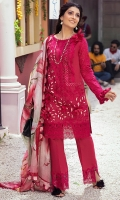 -Lazer cut and chikan embroidered front -Lazer cut embroidered back -Schiffli embroidered sleeves -Chikan embroidered lace for sleeves and neckline -Lazer cut and chikan embroidered border for front and back hemline and trousers -Sleeves motifs (2) -3D flowers -Silk buttons -Lawn undershirt -Dyed cotton trouser -Pure silk digital print dupatta