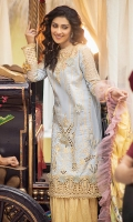 -Lazer cut and pani embroidered front -Embroidered back -Dyed sleeves -Chikan embroidered organza for sleeves insert -Lazer cut embroidered border front and back hemline -Schiffli embroidered border for sleeves -3D flowers -Lawn under piece for neckline -Finishing lace -Dyed trousers -Digital print pure silk dupatta