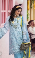 -Chikan embroidered gradient dyed front -Embroidered back -Lazercut embroidered border for front and back hemline -Lazercut embroidered border for sleeves -Embroidered sleeves -Embroidered roses for sleeves -Neckline motif -3D flowers -Finishing lace for front, back and sleeves -Dyed trousers -Digital print pure chiffon dupatta