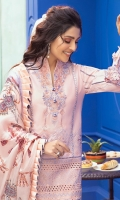 -Chikan embroidered front -Embroidered back -Embroidered sleeves -Embroidered front neckline -Embroidered back neckline -Chikan embroidered border for hemline -Pani embroidered border for sleeves -Pani embroidered finishing lace -Embroidered lace for front and back hemline -3D flowers -Finishing lace for front and back hemline -Dyed cotton trouser -Digital print pure silk dupatta