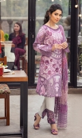 -Chikan and sequin embroidered front on tie and dye -Chikan and sequin embroidered back on tie and dye -Sequinned and embroidered hemline border on organza -Embroidered neckline silk patch for front -Embroidered neckline silk patch for back -Embroidered sleeves on tie and dye -Embroidered organza inserts for sleeves -3D flowers -Silk buttons and pearls -Finishing embroidered lace -Embroidered and sequinned motifs for trousers -Dyed cotton trouser -Chikan embroidered net dupatta