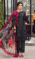 -Chikan embroidered and sequinned front -Chikan embroidered and sequinned back -Chikan embroidered and sequinned sleeves -Embroidered lace for front, back and sleeves -3D flowers -Dyed cotton trousers -Digital print pure chiffon dupatta