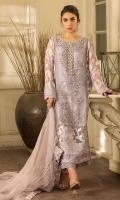 Shirt: Pure silk organza and jacquard organza Trouser: Raw silk Dupatta: Organza