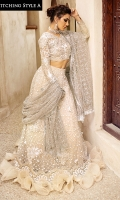 -Double sequinned net for lehnga/saree palu -Sequinned net for dupatta/saree -Pani embroidered, sequinned and hand embellished organza for front yoke -Dyed organza for back yoke -Embroidered, sequinned and pani embellished border for lehnga/saree -Embroidered, sequinned and pani embellished sleeves on organza -Pani embroidered and sequinned motifs for lehnga/saree -Raw silk lining for lehnga/saree -Cotton silk undershirt -Kiran lace for dupatta -3D sequinned flowers for lehnga/saree -Drops for shirt finishing