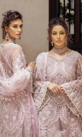 -Embroidered, sequinned and pani embellished front on net with handwork -Embroidered, sequinned and pani embellished back on net -Embroidered, sequinned and pani embellished shirt extension on net -Dyed net for sleeves -Embroidered, sequinned and pani embellished sleeves motifs -Pani embroidered and sequinned border for shirt front and back -Pani embroidered and sequinned border for front and back daman and sleeves -Sequinned and pani embroidered finishing lace -Dyed Jamawar Lehnga -Pani embroidered net dupatta -Cotton silk undershirt -Diamante studded buttons for front -Drops for shirt and dupatta finishing
