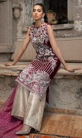 -Embroidered, sequinned, pani and hand embellished velvet for front -Embroidered velvet for back -Embroidered and pani embellished sleeves -Embroidered, sequinned and pani embsllished border for front -Embroidered and pani embellished patti for finishing -Jamawar trousers -Sequinned organza dupatta