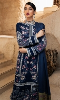-Embroidered, pani and hand embellished velvet for front -Velvet for back and sleeves -Embroidered and pani embellished motifs for sleeves -Embroidered and pani embellished neckline -Embroidered and pani embellished patti for finishing -Raw silk trousers -Woven shawl