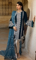 -Embroidered, sequinned, pani and hand embellished velvet for front -Embroidered, sequinned, pani and hand embellished velvet for back -Velet for sleeves -Embroidered, sequinned and pani embellished motifs for sides -Embroidered, sequinned and pani embellished border for sleeves -Embroidered, sequinned and pani embellished patti for finishing -Jamawar for trousers -Sequinned organza dupatta -Dimante studded balls for front -Kiran Lace for dupatta finishing