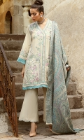 -Embroidered, pani and hand embellished Raw silk for front -Embroidered Raw silk for back -Pani embroidered rawsilk for sleeves -Embroidered and pani embellished finishing patti -Finishing lace for hemline and sleeves -Scalloped finishing lace -Raw silk trousers -Woven shawl