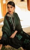 -Embroidered, sequinned, pani and hand embellished velvet for front -Embroidered, sequinned and pani embellished velvet for back -Embroidered, sequinned and pani embellished velvet for sleeves -Hand embellished neckline -Embroidered and sequinned border for front and back hemline -Raw silk trousers -Hand woven shawl