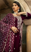 -Embroidered, sequinned, pani and hand embellished velvet for front -Velvet for back and sleeves -Embroidered, sequinned and pani embellished motifs for sleeves -Embroidered, sequinned and pani embellished motifs for sides -Embroidered, sequinned and pani embellished border -Embroidered, sequinned and pani embellished patti for finishing -Jamawar for trousers -Sequinned organa dupatta