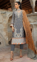 -Embroidered, pani and hand embellished Raw silk for front -Pani embroidered Raw silk for back -Pani embroidered rawsilk for sleeves -Embroidered border on silk for front -Embroidered silk border for sleeves -Diamante studded balls -Raw silk trousers -Woven shawl