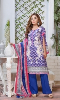 03 pcs unstitched embroidered Lawn with printed Lawn dupatta