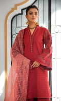 Embroidered Chikan Kari front Border and finishing patti on neck Back and sleeves with self embroidery Plain dyed trouser with embroidered border Embroidered Sleeve border Check Jacquard organza dupatta with embroidered border