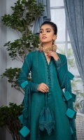 Embroidered chikan kari front with embroidered neckline and panel border Plain dyed back and sleeves with embroidered connector pattis on sleeves Plain dyed trouser with embroidered border Chiffon Dupatta with four side embroidered border and hangings