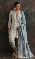 Light blue silk shirt with mirror work and hand embroidery, paired with a detailed Silk shalwar.