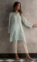 Cotton pleated shirt with hand embroidered mirror work on sleeves.