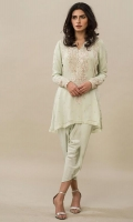 Mint resham shirt with tulip.