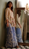 Top: Fabric: Organza, Beads and sequins work  Bottoms: Flaired Pant, Dori embroided with pearl finishing, Fabric: Silk