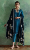 This pure silk teal ajkan kurti is hand worked in fine resham. Its comes with plain silk pants and paired with pure velvet navy blue chaddar, finely worked in resham and zardoze.