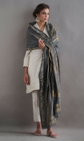 Textured karandi kurta. It comes with complimentary cotton pants and paired with pure pashmina shawl with gold printing and leather work.