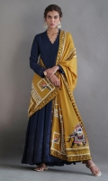 Navy blue silk kalidar with textures and delicate detailing comes with complimentary silk pencil pants and paired with our hand woven and embroidered pure saffron shawl.