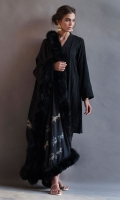 Winter linen pleated classic black shirt paired with this beautiful black shawl made of the finest quality of peshmina with delicate detailing. Comes with pants.