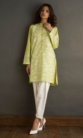 Light green geometric design cotton shirt with emboss print.