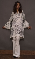 Voile shirt with emboss and though work on neckline.