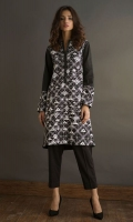 Black geometric design cotton shirt with emboss print.