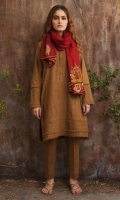 Brown khaddar kurta with pant and maroon hand embroidered scarf.