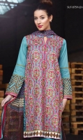 Kashmiri embroidered shirt with printed back, block print patches, printed chiffon dupatta and a plain dyed trouser.