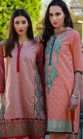 Fully embroidered shirt with printed back, sleeves With plain dyed trouser and a printed chiffon Dupatta.&Intricately embroidered shirt with printed chiffon dupatta and a plain dyed trouser.
