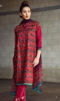 Ethnic fully embroidered shirt, printed chiffon dupatta and a plain dyed trouser.