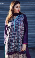 Fully embroidered shirt with printed back, sleeves With plain dyed trouser and a printed chiffon Dupatta.
