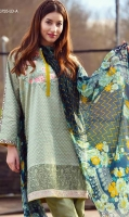 Floral embroidered shirt, copper block print patch with plain dyed trouser and a printed chiffon Dupatta.