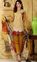 Material: Dupatta Chiffon , Shirt Lawn, Trouser Cotton