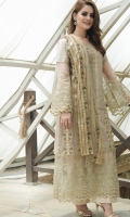 Fancy embroided cotton net shirt front contrasting with goden sequence work ,embroided pure organza sleeve and front, back patches and plain cotton trouser,paired with embroided net dupatta