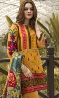 Detail embroided work mustard unstitched cotton net front with embroided front ,back & sleeve ,comes with trouser & with digital print pure silk dupatta