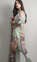 3-piece unstitched printed lawn shiirt with embroidered neckline and digital printed chiffon dupatta Material: Dupatta Chiffon, Shirt Lawn, Trouser Cotton