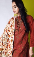 Rust khaddar shirt and trouser.shirt with overall & embroided jall in three color, teamed up with an autum offert digital printed wollen shawl