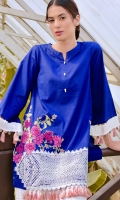 Beautifull top with embroidered front , tussle on sleeve and bottom enhancing the beauty of outfit