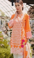 Beautifull 2-pieces orange outfit with front fully embroidered and emb patch on sleeve cuff ,paired with lawn digital print dpta with tussle