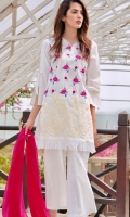 3-piece selfprint lawn suit with embroidered front, paired with bootcut trouser and plain chiffon dpta . white lace on front and back botton enhancing the beauty of outfit