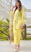 3-piece lawn suit with embroidered front, paired with straight pent trouser and digital print chiffon dpta . pearl button on neck enhancing the beauty of outfit